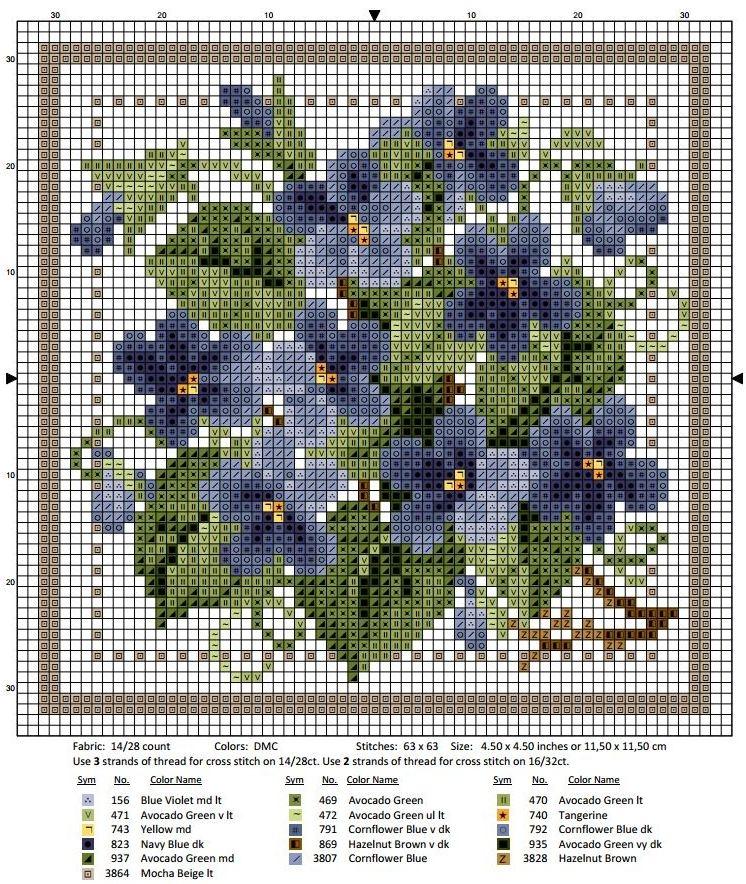 Схема вышивки крестом февраль