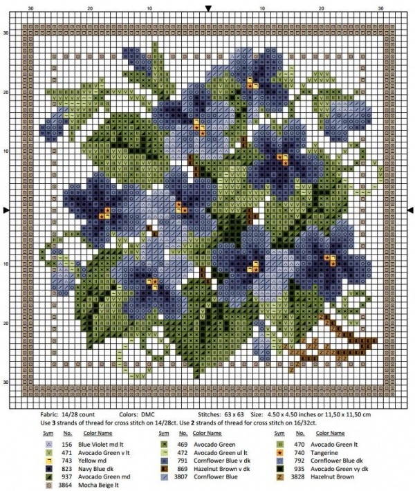 Схема вышивки крестом февраль фиалка