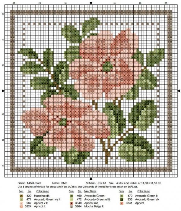 Схема вышивки крестом июнь шиповник