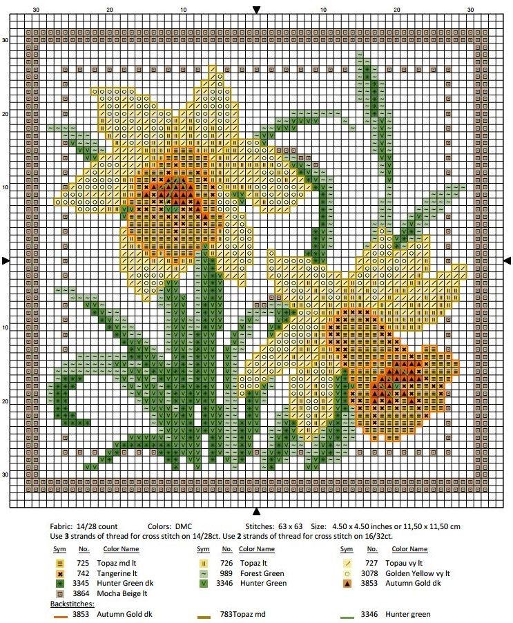 Схема вышивки крестом март