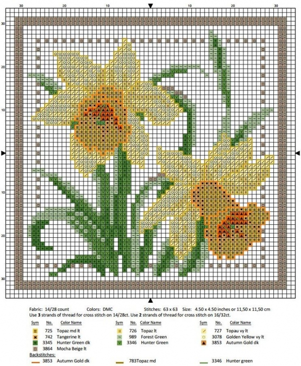 Схема вышивки крестом март нарцисс