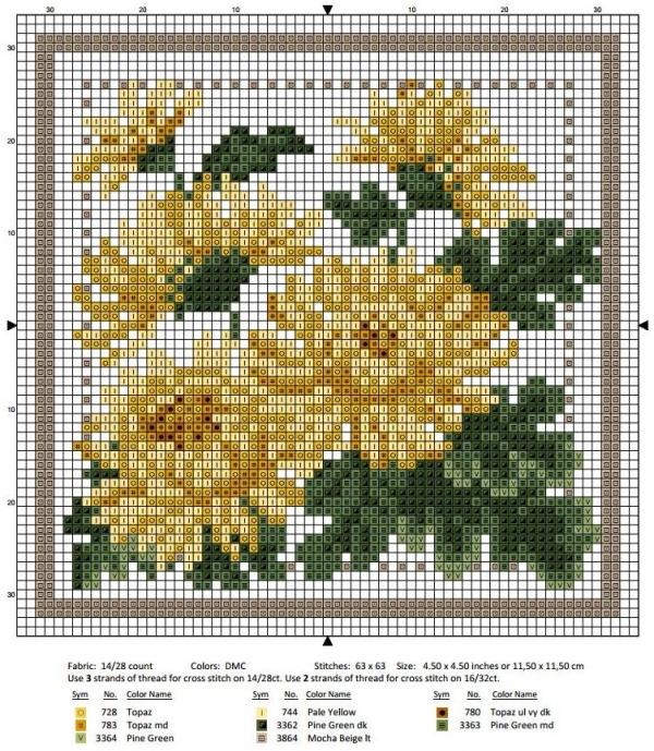 Схема вышивки крестом ноябрь хризантема
