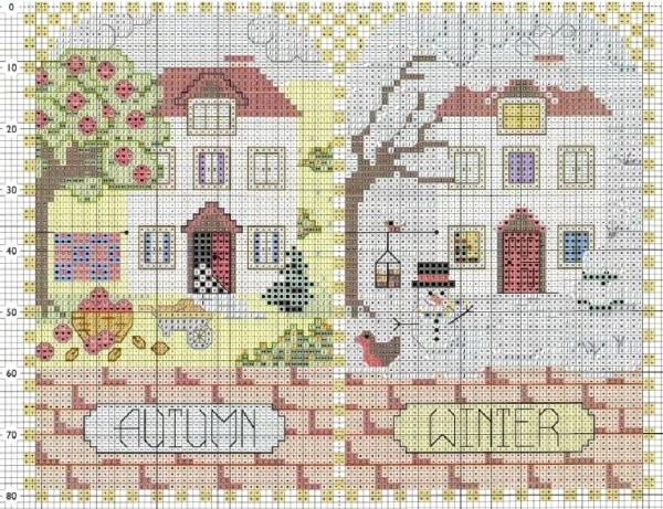Схема вышивки крестом осень зима