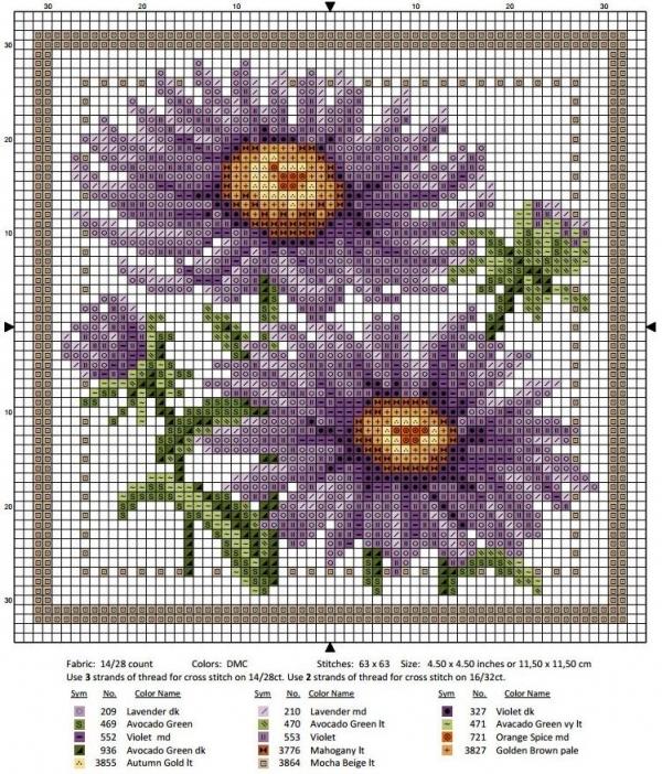 Схема вышивки крестом сентябрь астра
