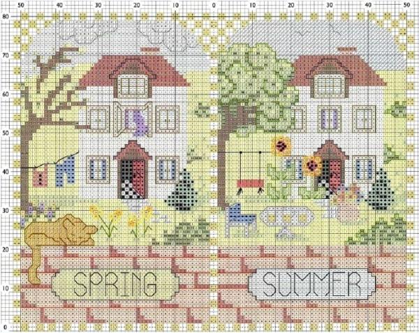 Схема вышивки крестом весна лето