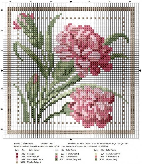 Схема вышивки крестом январь гвоздика