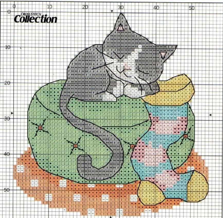 Схема вышивки котенок с носком