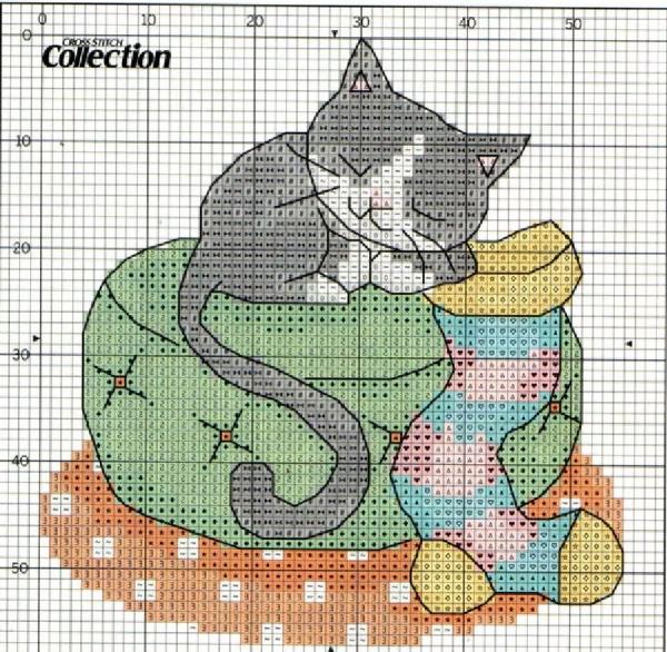 Схема вышивки котенок с носком для подарков