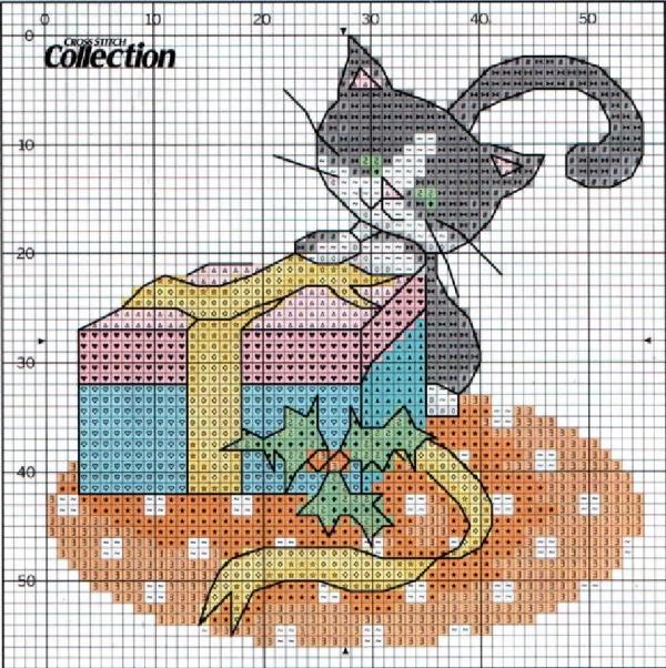 Схема вышивки крестом котенок с подарками