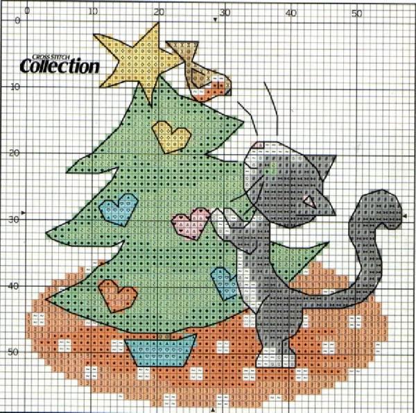 Схема вышивки крестом котенок возле елочки