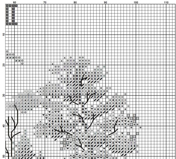 Схема для вышивки часов с домиком и подсолнухами