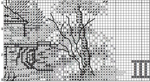 Схема для вышивки часов с подсолнухами и домиком