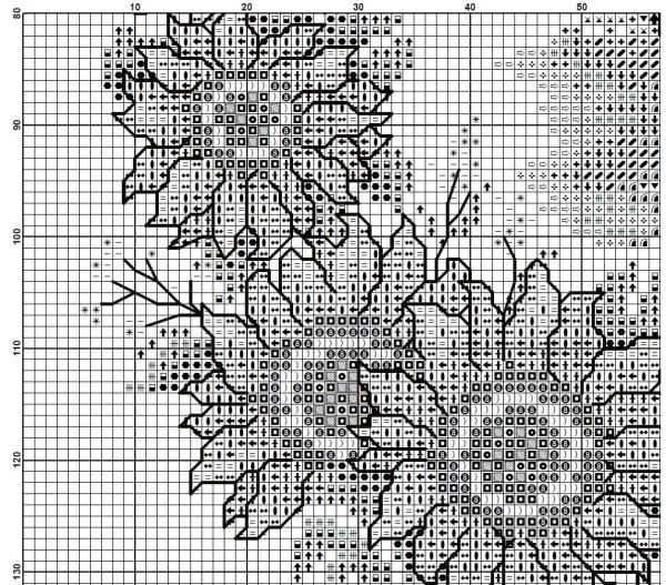 Схема вышивки часов с домиком в подсолнухах