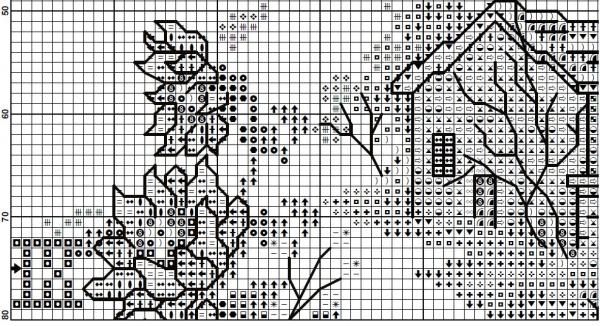Схема вышивки часов с подсолнухами и домиком