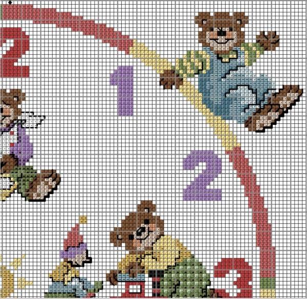 Схема для вышивки крестом часов с мишками