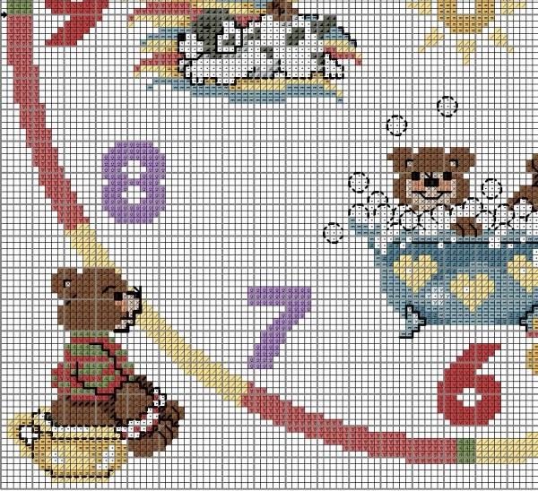 Схема вышивки часов с мишками