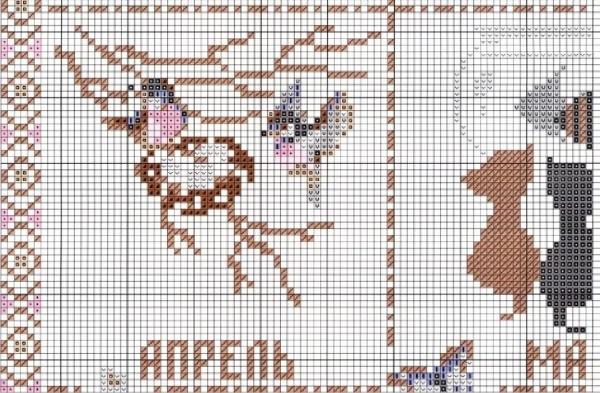 Схема вышивки календаря с кошками апрель-май