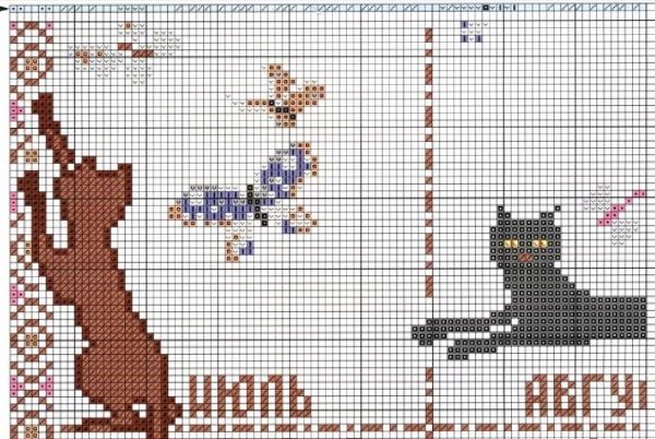 Схема вышивки календаря с кошками июль-август