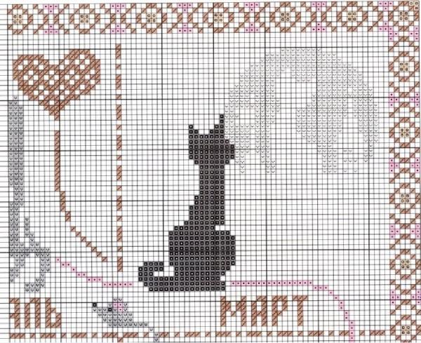 Схема вышивки календаря с кошками март
