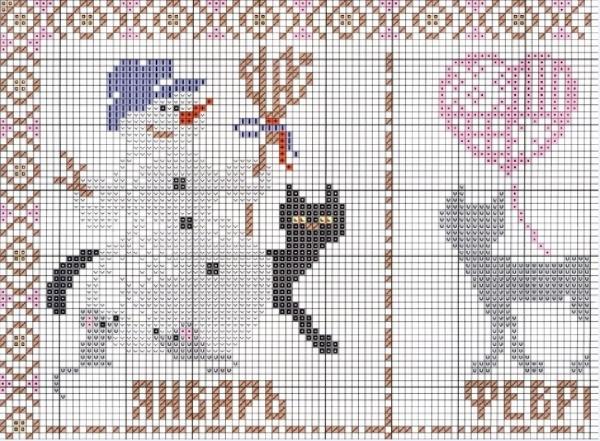 Схема вышивки календаря с кошками январь-февраль
