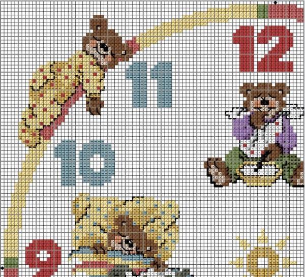 Схема вышивки крестом часов с мишками