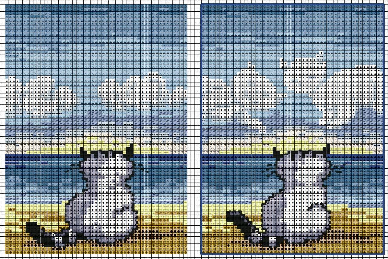 схема для вышивки котенок с сердечками