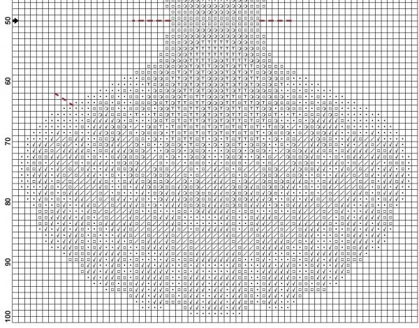 Схема для вышивки игольницы в виде ракушки