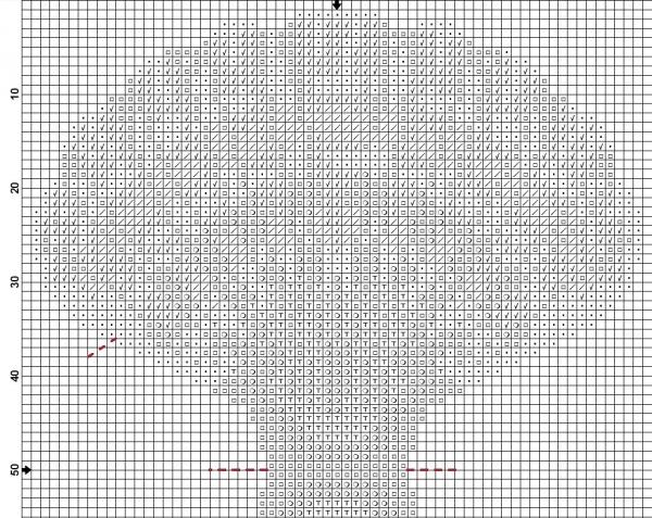 Схема вышивки крестом игольницы в виде ракушки