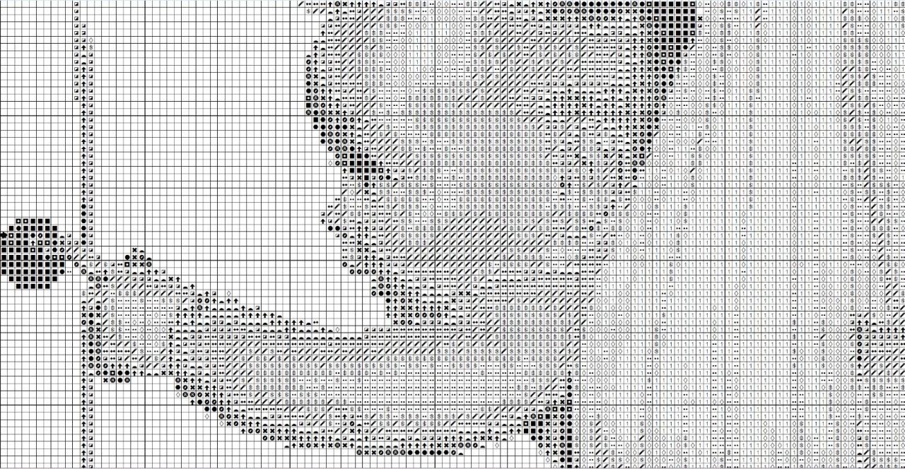 Вышивка аист с младенцем схема чёрно белая