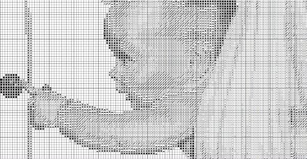Схема для вышивки детской метрики с аистом