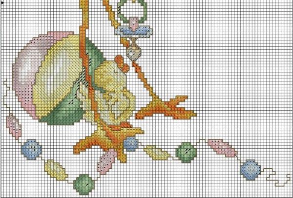 Схема для вышивки крестом метрики аист с узелком
