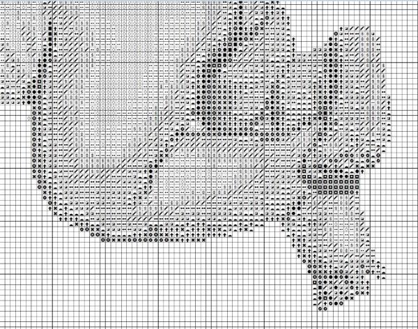 Схема для вышивки метрики с аистом и малышом
