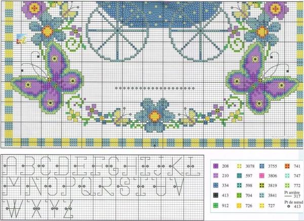 Схема и ключ к вышивке коляски для новорожденного