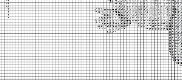 Схема вышивки детской метрики с аистом и малышом