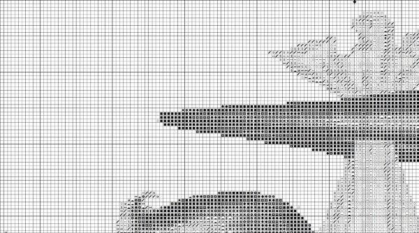 Схема вышивки детской метрики с аистом