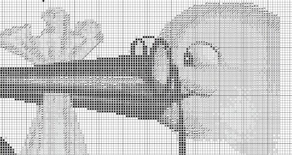Схема вышивки крестом детской метрики с аистом