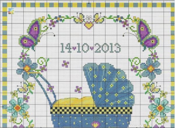 Схема вышивки крестом коляски для новорожденного