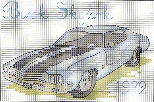 Схема вышивки крестом ретроавтомобиля Buick