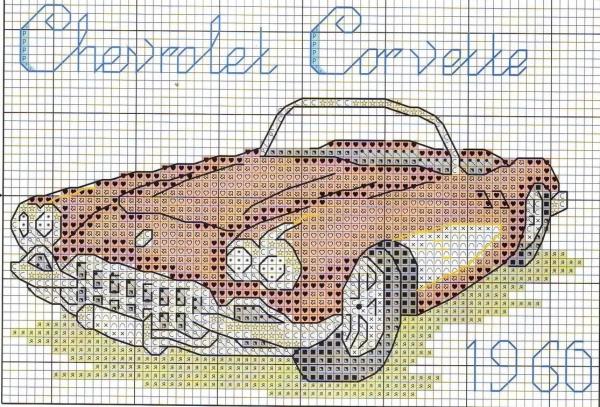 Схема вышивки крестом ретроавтомобиля Chevrolet