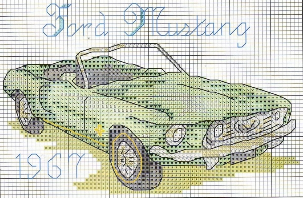 Схема вышивки крестом ретроавтомобиля Ford