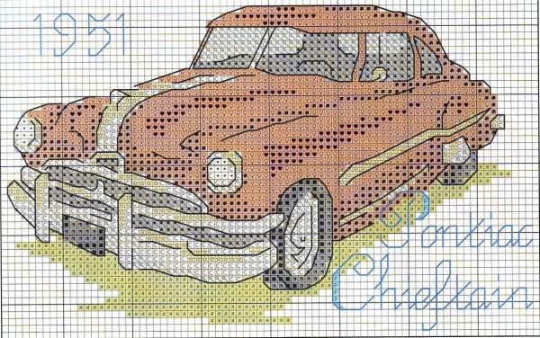Схема вышивки крестом ретроавтомобиля Pontiac