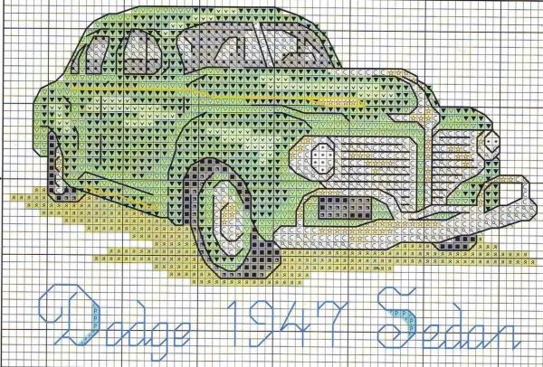 Схема вышивки крестом ретроавтомобиля Sedan