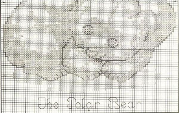 Схема для вышивки кресом полярных медведей