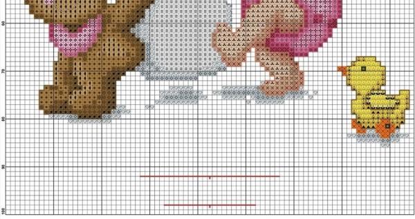 Схема для вышивки метрики с малышом и бутылкой