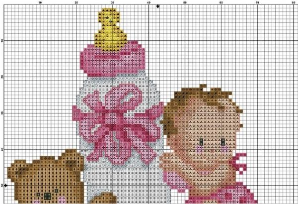 Схема вышивки крестом метрики с малышом и бутылкой