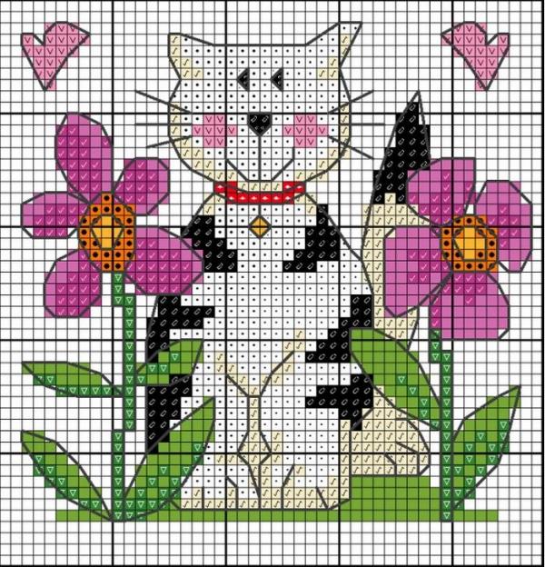 Схема вышивки крестом кошки в цветнике