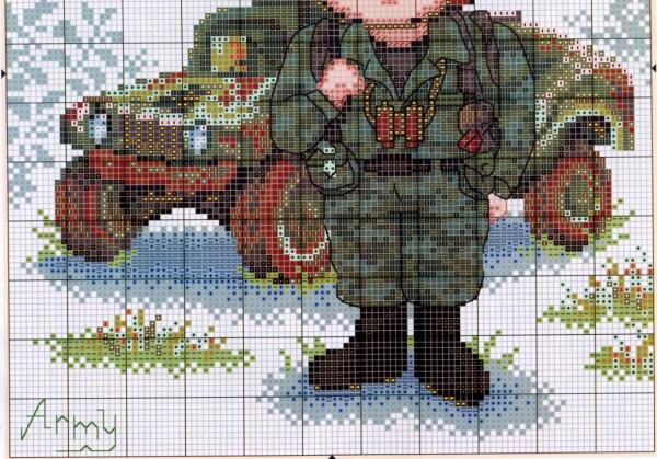 Схема вышивки защитник Отечества