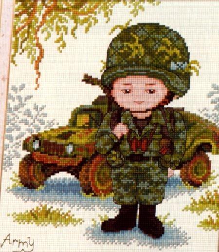 Схема вышивки крестом солдат 10