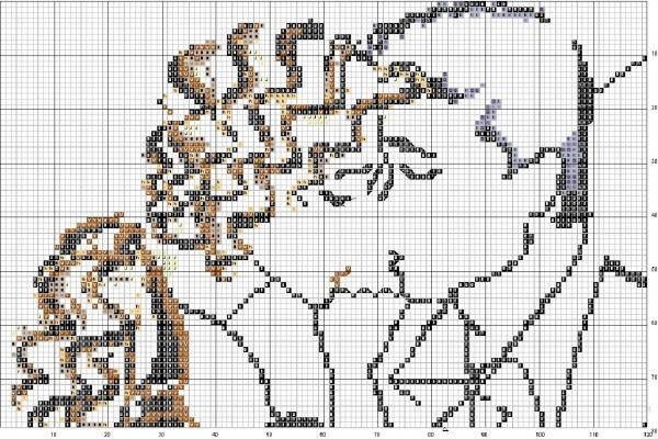 Схема вышивки крестом пара нежная встреча
