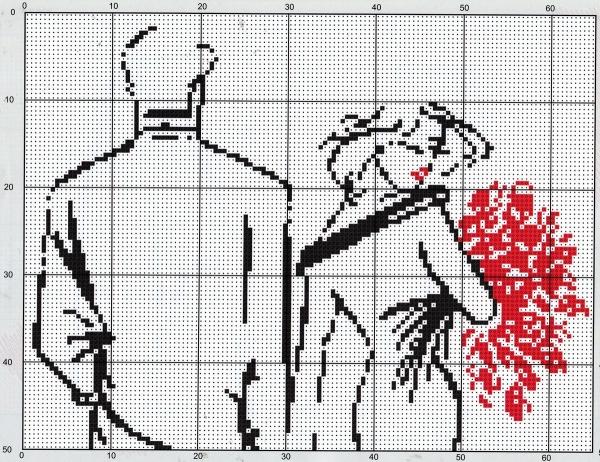 Схема вышивки крестом пара с букетом